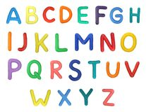 Alphabet. Colorful Alphabet made from plasticine (isolated on white). Use it to make your own message royalty free stock photography