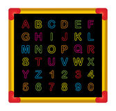 Alphabet. On a blackboard on white background Stock Photography