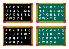 Alphabet. On a school boards in white background stock illustration