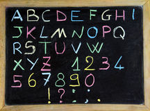 Alphabet. Colorful alphabet on the blackboard Stock Photo