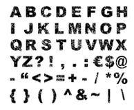 Alphabet. Grunge font alphabet - letters, numbers (vector, illustration stock illustration