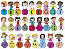 Alphabet. Illustration of a colorful alphabet with children Stock Photography