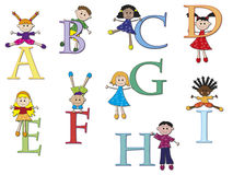 Alphabet. Illustration of a alphabet with children - stock 1 Royalty Free Stock Photo