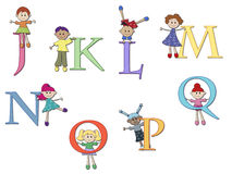 Alphabet. Illustration of a alphabet with children - stock 2 Royalty Free Stock Photos