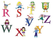 Alphabet. Illustration of a alphabet with children - stock 3 Royalty Free Stock Photo