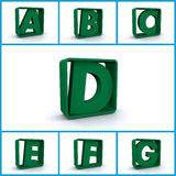 Alphabet. Illustration of few first letters of the alphabet Stock Photography