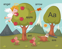 Alphabet.A. Letter angel apple arrow ant axe Stock Photo