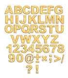 Alphabet - 3d Golden Letters With Rivets Royalty Free Stock Photography