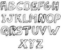 Alphabet 3D grunge en noir et blanc Illustration de Vecteur
