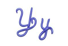 Alphabet. Plasticine alphabet letter y  for education Royalty Free Stock Photos