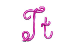 Alphabet. Plasticine alphabet letter t  for education Royalty Free Stock Photo