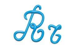 Alphabet. Red plasticine alphabet letter r  for education Stock Photo