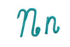 Alphabet. Plasticine alphabet letter n  for education Royalty Free Stock Images