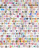 Alphabet with 516 letters, numbers, symbols. Newspaper, magazine alphabet with 516 letters, numbers and symbols.  on white background Royalty Free Stock Image