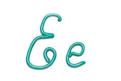 Alphabet. Plasticine alphabet letter e for education Stock Photography