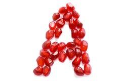 Alphabet. Red pomegranate alphabet letter j for education Stock Photography