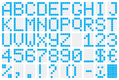 Alphabet. Dot-matrix display with alphabet and numbers. Vector illustration Royalty Free Illustration