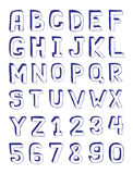 Alphabet. Hand Drawn Alphabet and Digits Royalty Free Stock Photography