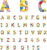 Alphabet. And nembers vector set Stock Images