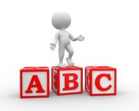 Alphabet ABC cubes. 3d people - man, person with alphabet ABC cubes Stock Image