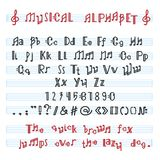 Alphabet ABC vector musical alphabetical font with music note letters of alphabetic typography illustration. Alphabetically melody typeset isolated on white royalty free illustration