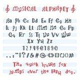 Alphabet ABC vector musikalischen alphabetischen Guss mit Musikanmerkungsbuchstaben der alphabetischen Typografieillustration lizenzfreie abbildung