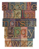 Alphabet abstract - letterpress type royalty free stock images