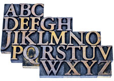 Alphabet abstract in letterpress wood type Stock Photography