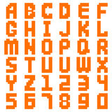 Alphabet abstract pixel art all letters and number design vector illustration. Royalty Free Stock Image