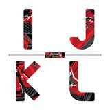 Alphabet Abstract Red color style in a set IJKL stock illustration