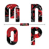 Alphabet Abstract Red color style in a set MNOP stock illustration