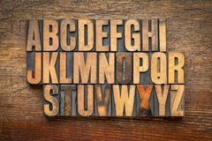 Alphabet abstract in vintage wood type. Against rustic wooden background Royalty Free Stock Photo