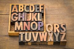 Alphabet abstract in vintage wood type. With a box Royalty Free Stock Photo