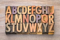 Alphabet abstract in vintage wood type. English alphabet abstract in vintage letterpress wood type printing blocks against grained wood Royalty Free Stock Photography