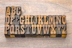 Alphabet abstract in vintage wood type. English alphabet abstract in vintage letterpress wood type printing blocks against grained wood, French Clarendon font Stock Images
