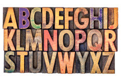 Alphabet abstract in vintage wood type Stock Photo