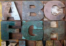 Vintage wooden letterpress types. Letters A, B, C, F, G, H. Royalty Free Stock Photography