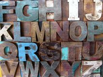 Alphabet abstract - vintage wooden letterpress types. Stock Images