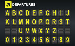 Alphabet in airport arrival and departure display style template. Royalty Free Stock Photos