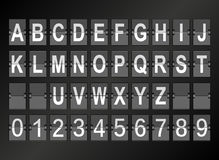 Alphabet in airport arrival and departure display style template. Stock Images