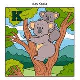 Alphabet allemand, lettre K (koala et fond) Images stock