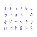 Alphabet with ancient Old Norse runes (Futhark) Set of 24 scandinavian and germanic letters. On square white landscape background Stock Images