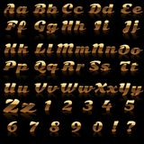Alphabet And Number Made ​​in Gold Stock Images