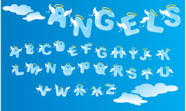 Alphabet with angels letters Stock Photos