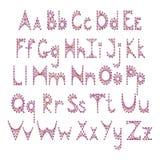 Alphabet anglais de vecteur brodé sur le carton Photographie stock libre de droits