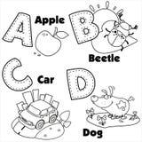 Alphabet anglais et les lettres A, B, C et D Photographie stock libre de droits
