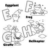 Alphabet anglais et les lettres E, F, G et H Photo libre de droits