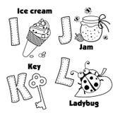 Alphabet anglais et les lettres I, J, K et L Images libres de droits
