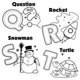 Alphabet anglais et les lettres Q, R, S et T Photos libres de droits