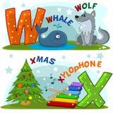 Alphabet anglais W X Images libres de droits